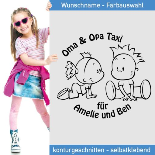 Baby Auto Aufkleber Enkelkinder - Oma und Opa Taxi -