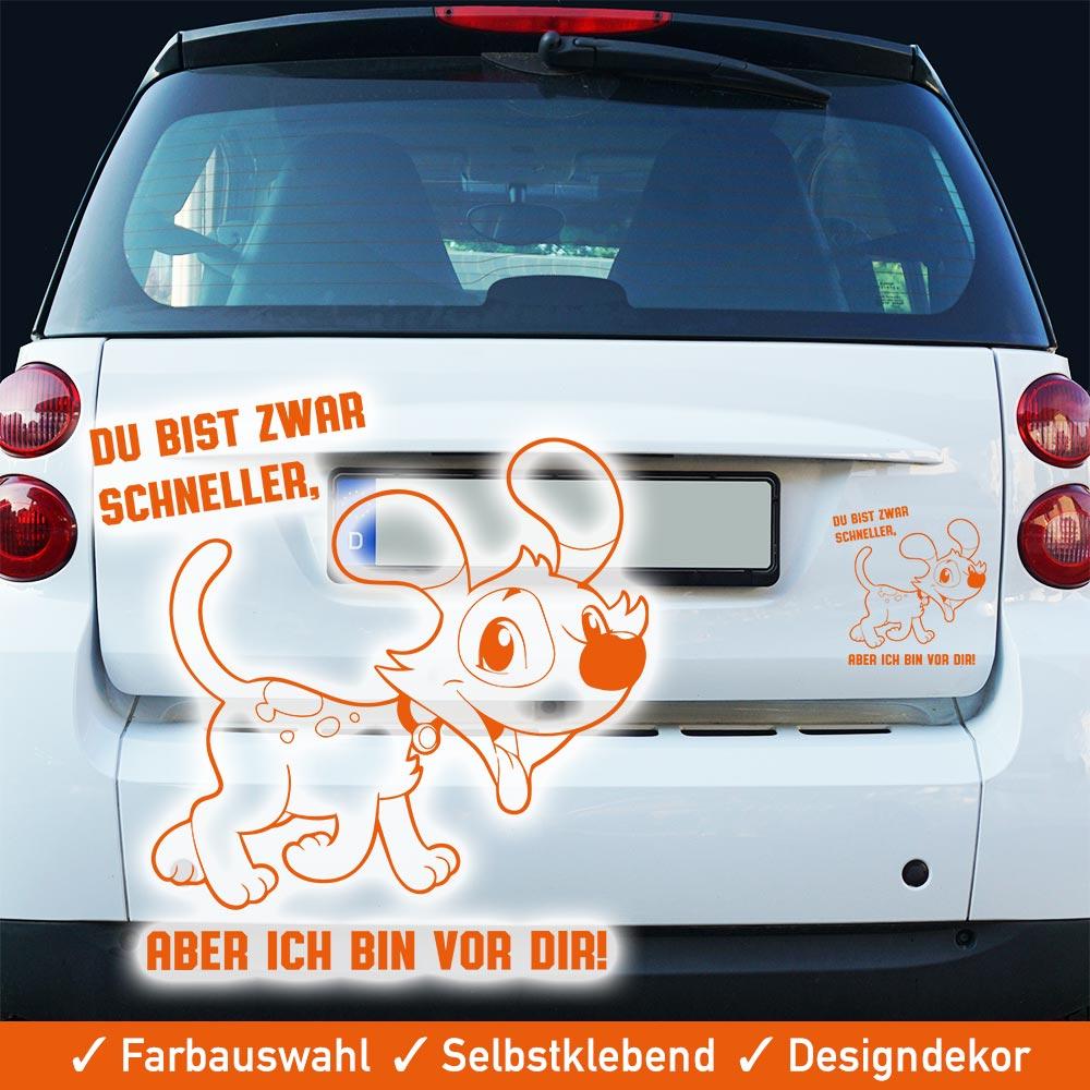 Startbild Hunde Autoaufkleber - Du bist zwar schneller aber ich bin vor dir -