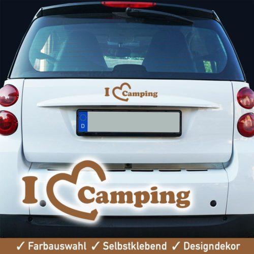 Startbild Camping Aufkleber - I love camping - für Auto, Wohnwagen, Wohnmobil usw.