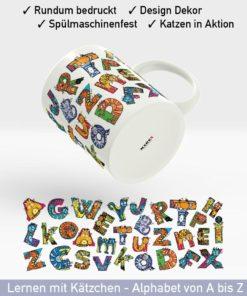 Startbild Katzen Tasse mit lustigen Buchstaben und Katzen in Aktion