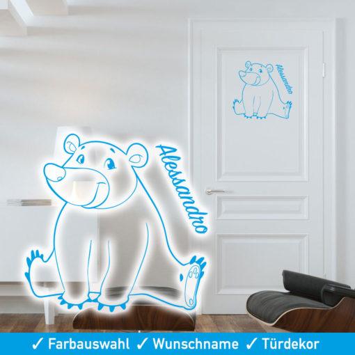 Startbild Tür Aufkleber Kinderzimmer mit Bär und Wunschname