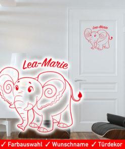 Startbild Türaufkleber Kinderzimmer Junge Mädchen mit Wunschname und süßem Elefant