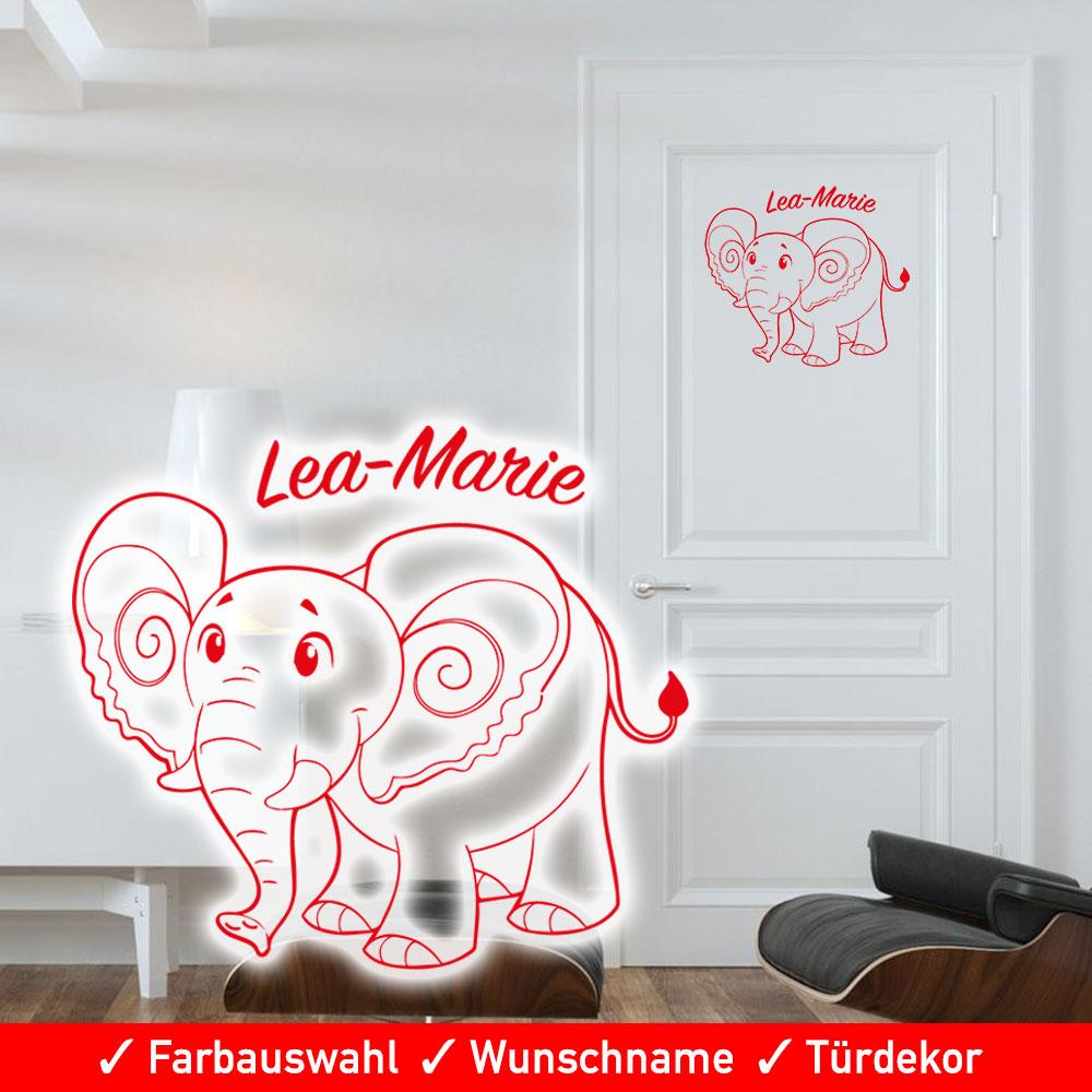 t raufkleber kinderzimmer junge m dchen mit wunschname und elefant. Black Bedroom Furniture Sets. Home Design Ideas