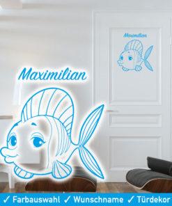Startbild Türtattoo Kinderzimmer Wunschname mit niedlichem Fisch