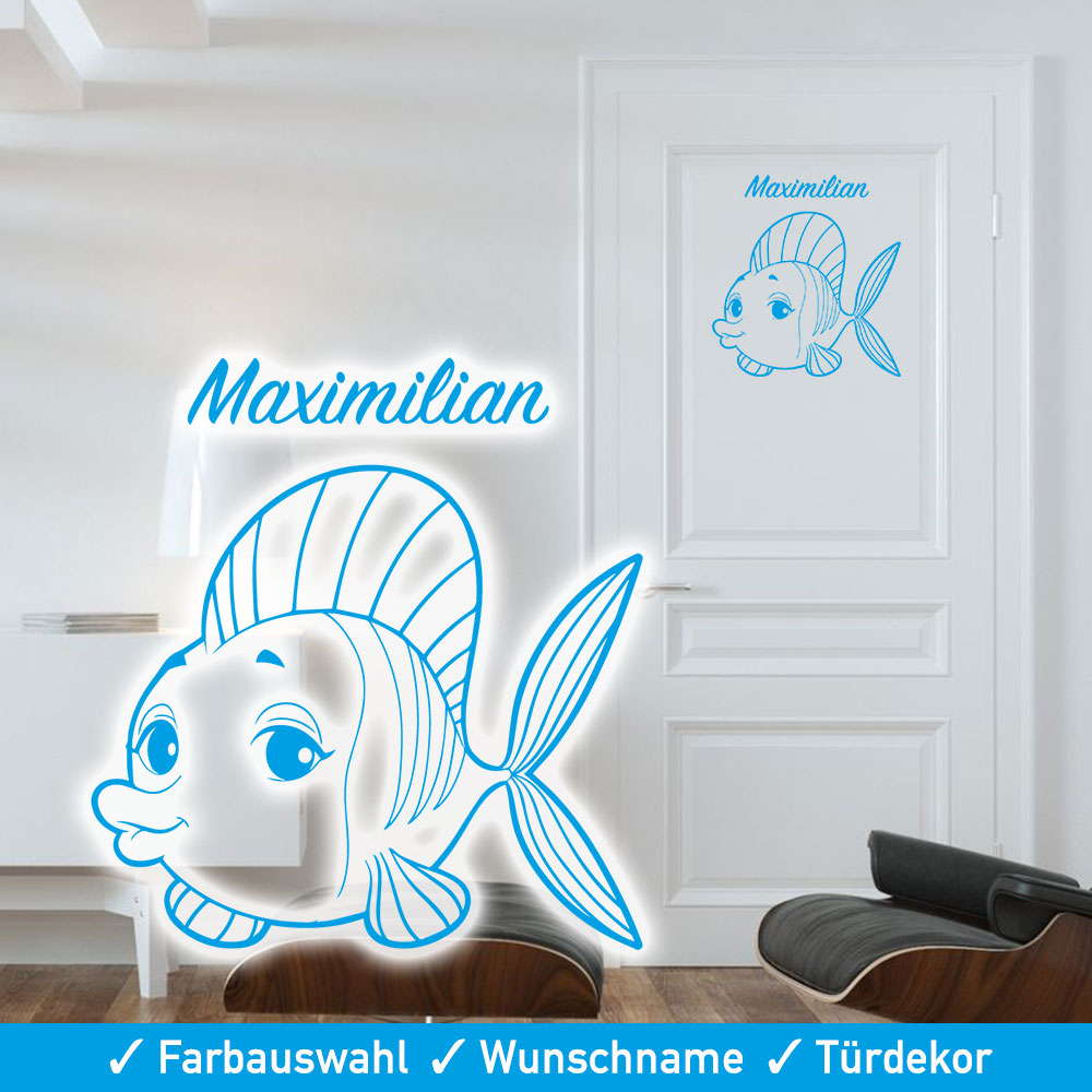 t rtattoo kinderzimmer wunschname mit niedlichem fisch. Black Bedroom Furniture Sets. Home Design Ideas