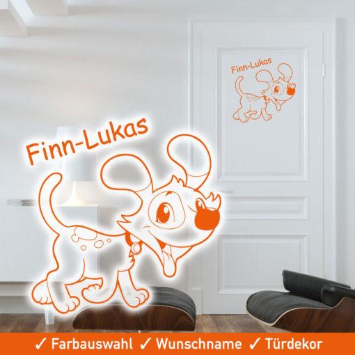 Startbild Türposter Kinderzimmer selbstklebend mit Hund und Wunschname