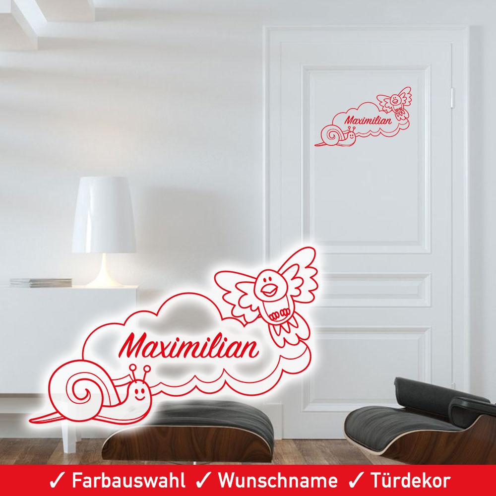 Startbild Türaufkleber Kinderzimmer Schnecke und Wolke mit Wunschname