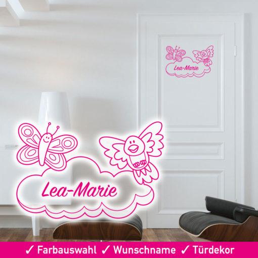 Startbild Türaufkleber Kinderzimmer Schmetterling, Vogel und Wolke mit Wunschname