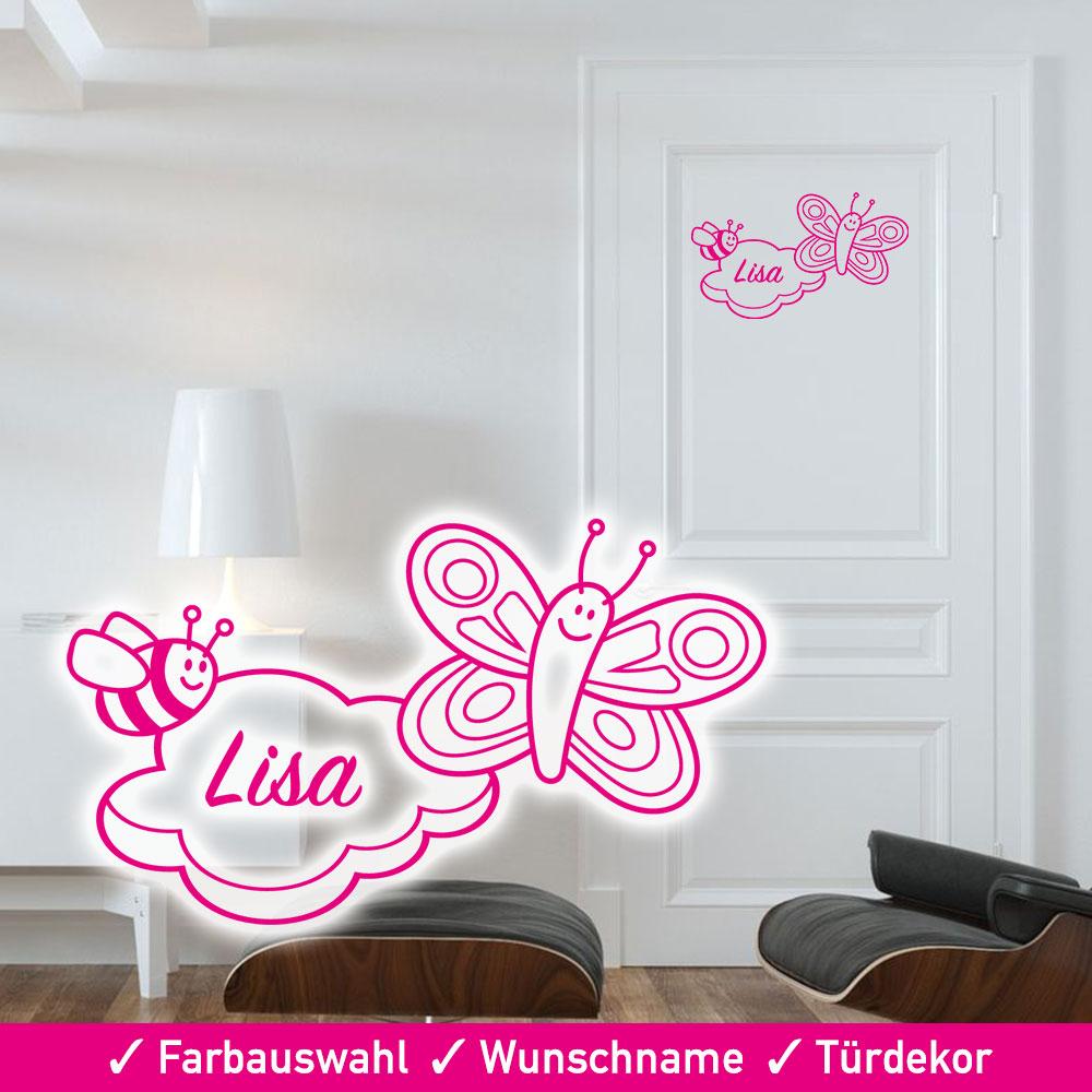 Startbild Türaufkleber Kinderzimmer Wolke und Schmetterling mit Wunschname
