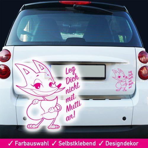 Startbild Aufkleber Fuchs - Leg dich nicht mit Mutti an -