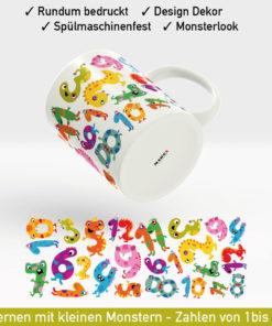 Startbild Schulkind Tasse mit Zahlen in Form von kleinen Monstern