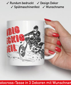 Motocross Kaffee Becher mit Name und verschiedenen Motiven zur Auswahl