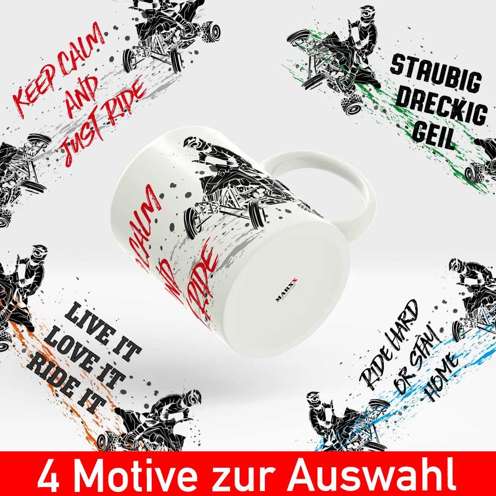 Startbild Quad Tasse mit vier verschiedenen Motiven