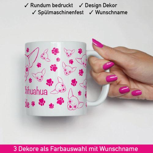 Tasse Chihuahua mit Hunde Wunschname und Dekor in Pink