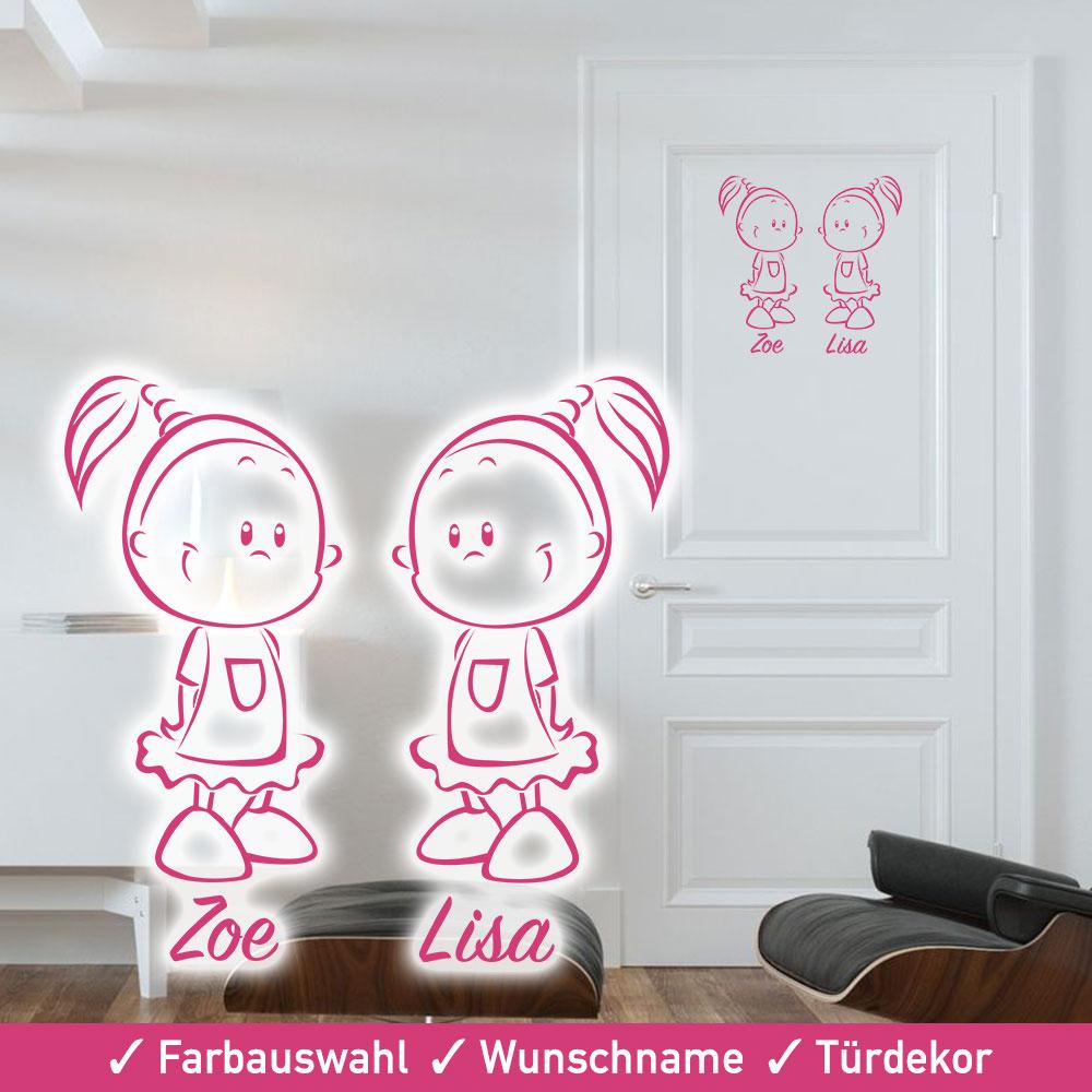 Startbild Türaufkleber Zwillinge Mädchen in vielen tollen Farben