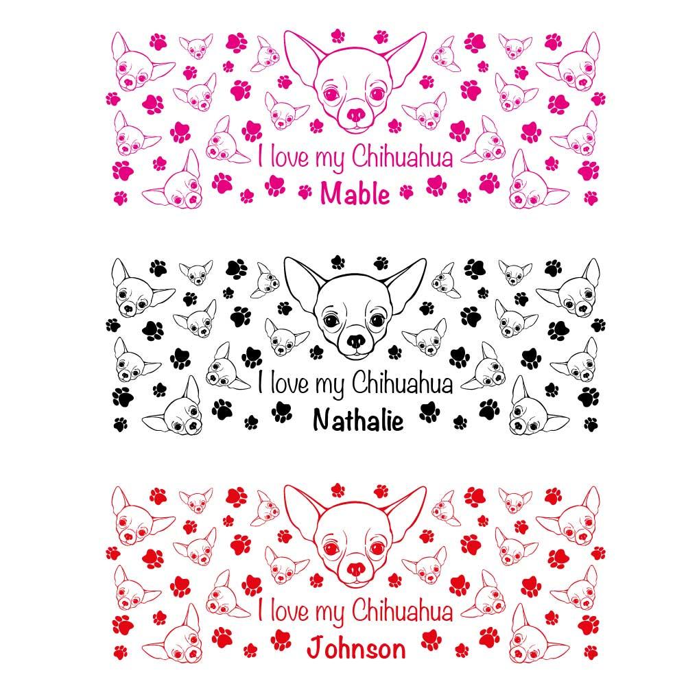 Farbübersicht Tasse Chihuahua mit Hunde Wunschname und Dekor in Pink