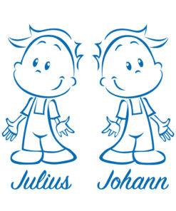 Türaufkleber Zwillinge Jungen in vielen Farben