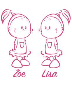 Türaufkleber Zwillinge Mädchen in vielen tollen Farben