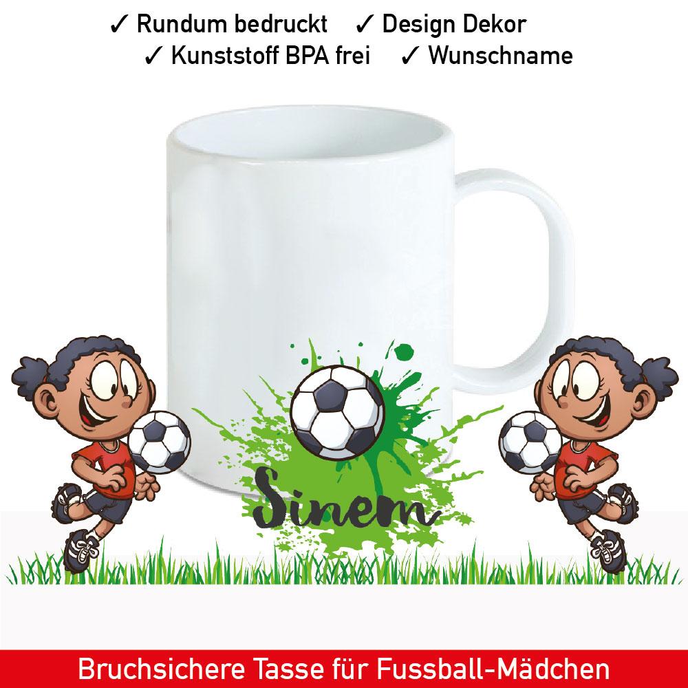 Startbild Kunststoff Mädchen Tasse mit Namen und Fußball Motiv