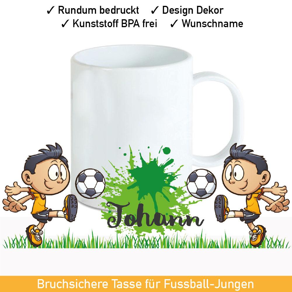 Startbild Fußball Kunststoff Tasse rundum bedruckt