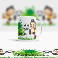 Fußball Kunststoff Tasse rundum bedruckt Ansicht rechts