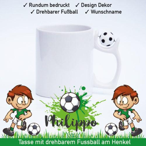 Kinder Fußball Tasse mit Namen