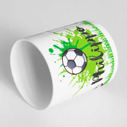 Kinder Fußball Tasse mit Namen Ansicht liegend