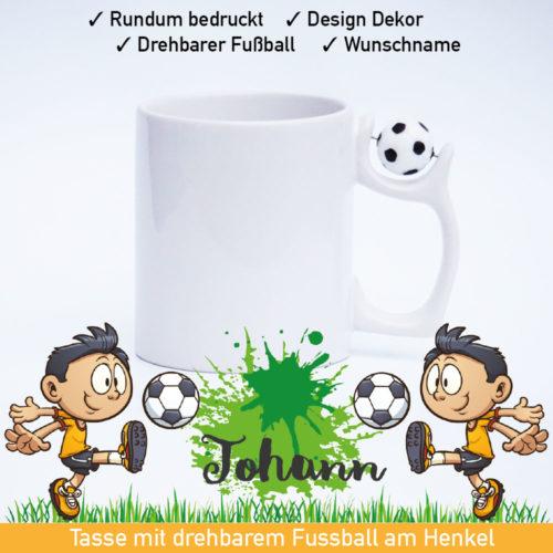 Startbild Fußball Tasse Kinder mit drehbarem Fußball