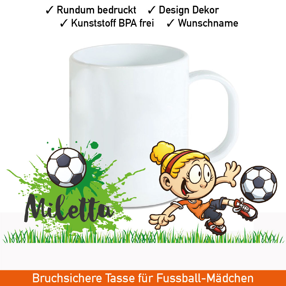 Startbild Kindertasse mit Namen und Fußball Motiv aus Kunststoff