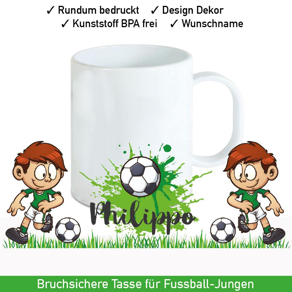 Bruchsichere Plastik Tasse Fußball Motiv mit Wunschname
