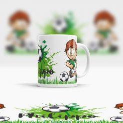 Bruchsichere Plastik Tasse Fußball Motiv mit Wunschname Ansicht rechts