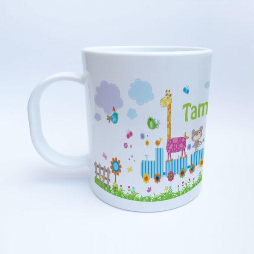 Kunststoff Kindergarten Tasse mit Eisenbahn und Zootieren Ansicht links