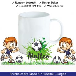 Startbild Kunststoff Tasse mit Namen und Fußball Motiv