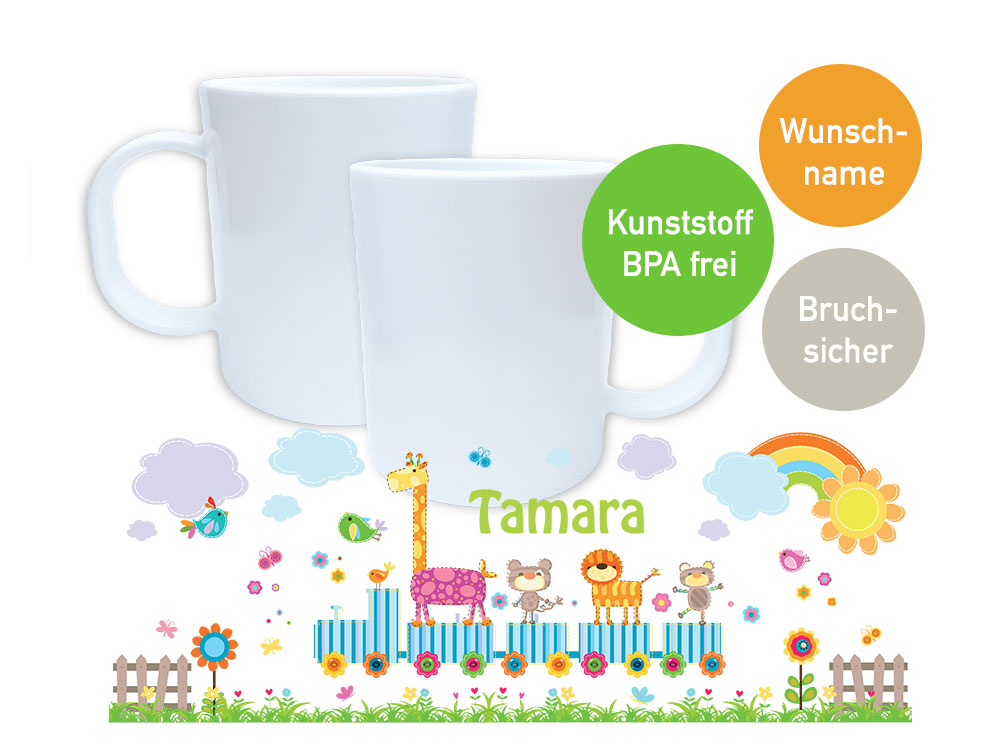 kunststoff kindergarten tasse mit eisenbahn bunten zootieren und name. Black Bedroom Furniture Sets. Home Design Ideas