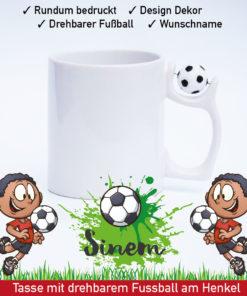 Startbild Mädchen Fußball Tasse mit drehbarem Fußball