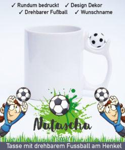 Startbild Mädchen Torwart Tasse mit drehbarem Fußball am Henkel