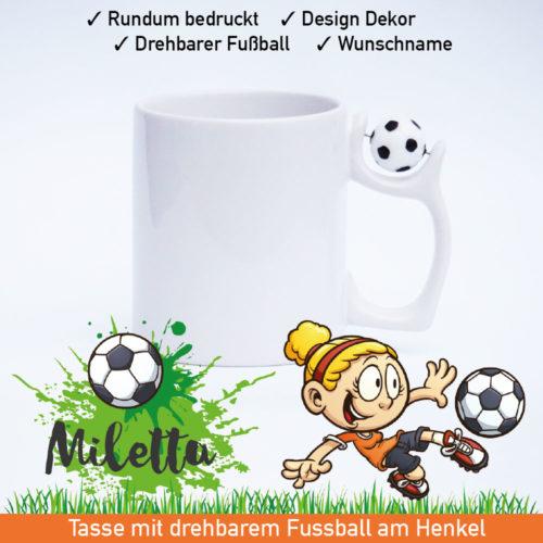 Startbild Tasse Mädchenfußball mit drehbarem Fußball am Henkel