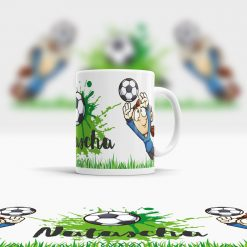 Kindertasse Kunststoff mit Mädchen Namen und Fußball Motiv Ansicht rechts