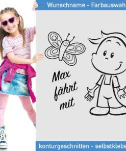 Startbild Kinder Aufkleber Wunschname mit süßem Jungen und Schmetterling