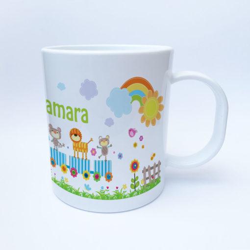 Kunststoff Kindergarten Tasse mit Eisenbahn und Zootieren