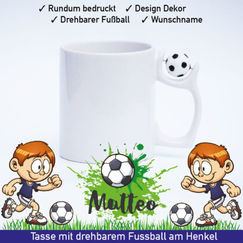 Tasse Fussball mit Namen und drehbarem Fussball