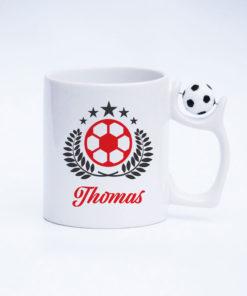 Fussball Tasse Feldspieler mit drehbarem Fußball am Henkel Ansicht rechts