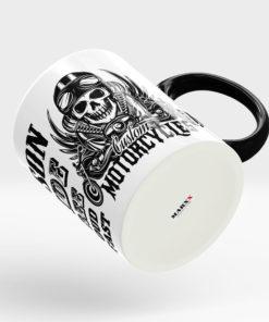 Skull Motorrad Tasse mit schwarzem Henkel Ansicht rechts