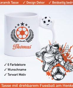 Startbild Fußball Kaffeetassen mit drehbarem Fußball am Henkel