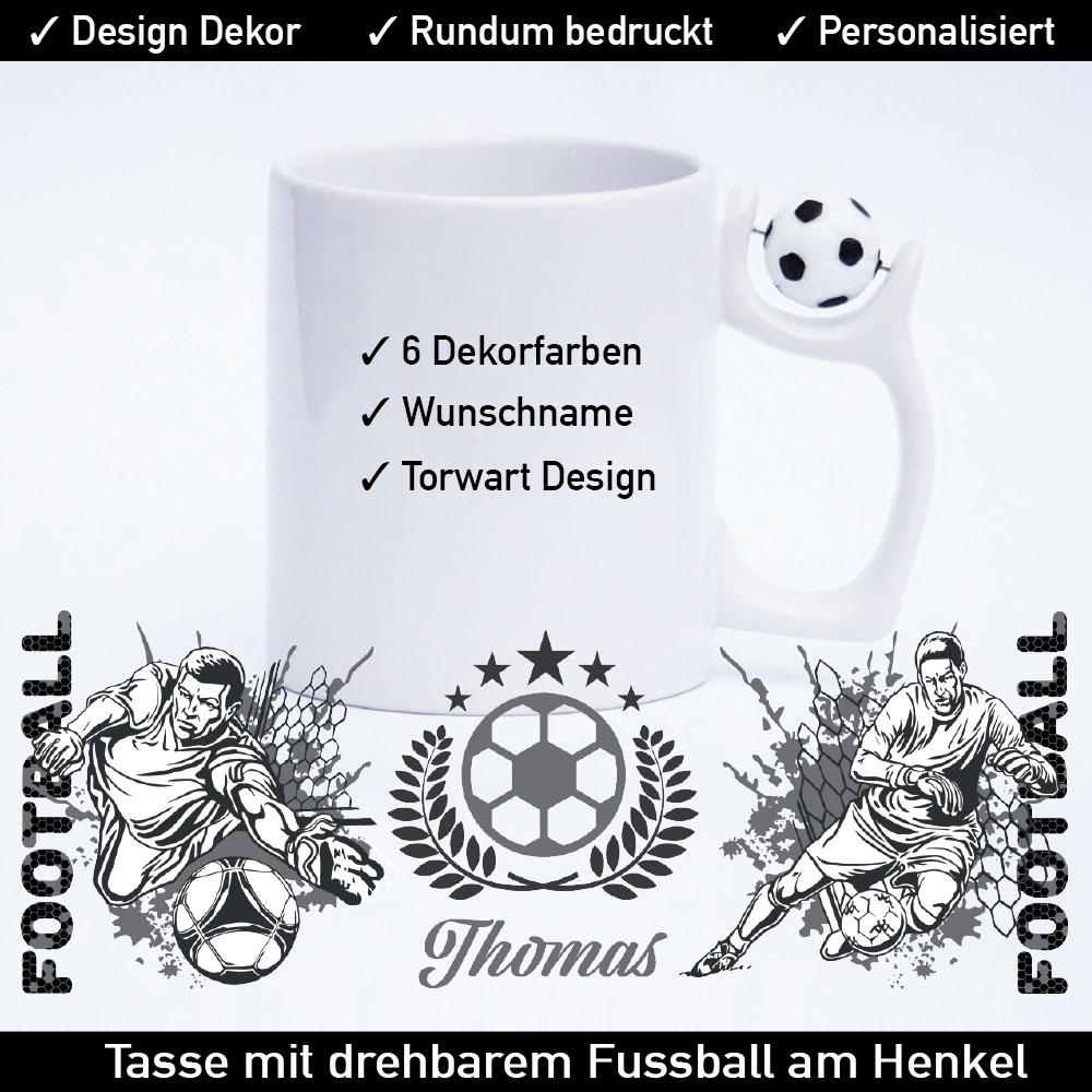 Startbild Fußball Tasse bedrucken mit drehbarem Fußball am Henkel