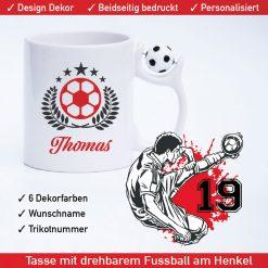Fussball Tasse Feldspieler mit drehbarem Fußball am Henkel