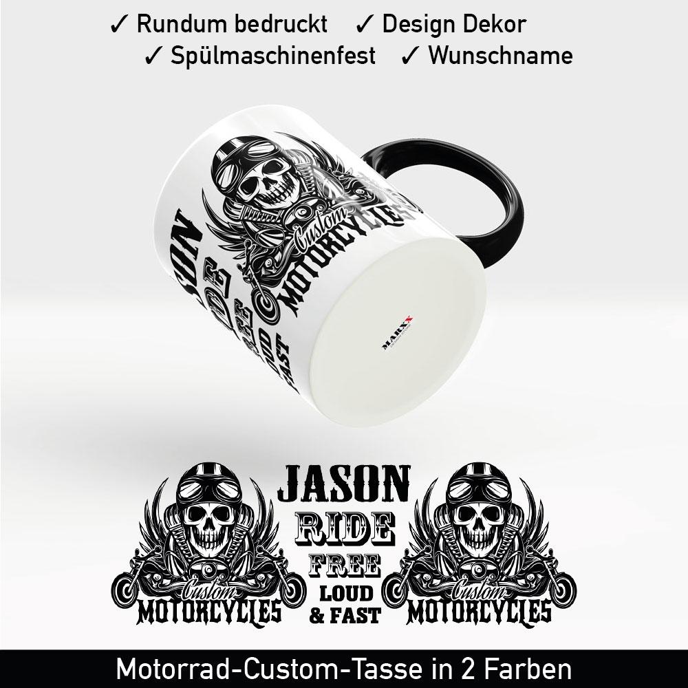 Startbild Skull Motorrad Tasse mit schwarzem Henkel