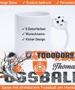 Startbild Tasse Fußball mit Namen und verschiedenen Spieler Motiven