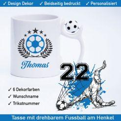 Startbild Fußball Tasse Torwart mit drehbarem Fußball am Henkel