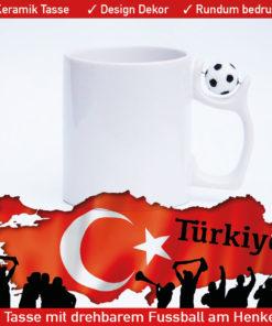 Motiv Türkei Fußballtasse Türkiye mit drehbarem Fußball am Henkel